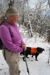 MSI Board member Cindy Heath with her dog Stanley on Mt. Orford, Quebec, Canada