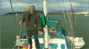 Tom on board his yacht in Bluff, New Zealand